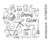 vector doodle set of cleaning... | Shutterstock .eps vector #317385524