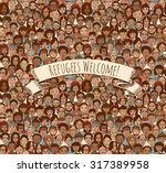 refugees welcome  tileable... | Shutterstock .eps vector #317389958