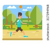 vector flat design on fitness... | Shutterstock .eps vector #317394968