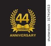 44th anniversary golden wreath... | Shutterstock .eps vector #317414513