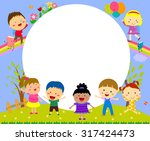 cute frame with kids | Shutterstock .eps vector #317424473