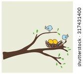 bird is nest | Shutterstock .eps vector #317431400