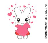cute cartoon bunny girl in a... | Shutterstock .eps vector #317437670