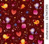 birds and flowers seamless... | Shutterstock .eps vector #317447390