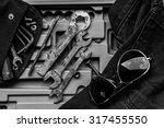 garage tool box work  black and ... | Shutterstock . vector #317455550