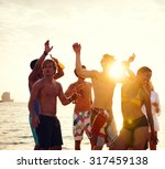 people celebration beach party... | Shutterstock . vector #317459138