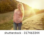 happiness woman stay outdoor... | Shutterstock . vector #317463344