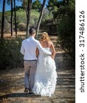 beautiful wedding day at sea... | Shutterstock . vector #317486126