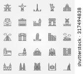 Popular travel landmarks icons - vector set of thin line monuments symbols or logo elements | Shutterstock vector #317494838