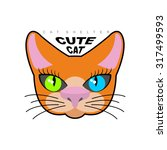 cute cat. logo for  kitty... | Shutterstock .eps vector #317499593