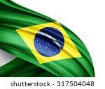 brazil   flag of silk with... | Shutterstock . vector #317504048