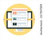 social media theme  flat style  ...   Shutterstock .eps vector #317507009
