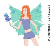young redhead butterfly lady is ... | Shutterstock .eps vector #317511236