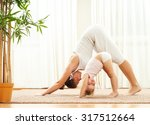 mother and daughter doing yoga  ... | Shutterstock . vector #317512664
