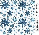 watercolor blue flower seamless ... | Shutterstock .eps vector #317518763