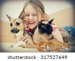Stock photo laughing girl and pets 317527649