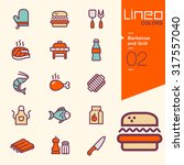 lineo colors   barbecue and... | Shutterstock .eps vector #317557040