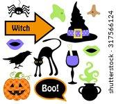 cute set of halloween witch... | Shutterstock . vector #317566124