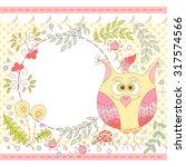 cute vector owl photo frame.... | Shutterstock .eps vector #317574566