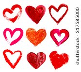collage of painted heart... | Shutterstock . vector #317585000
