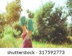 female legs in colorful... | Shutterstock . vector #317592773