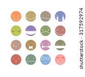 vector set of nine smile face... | Shutterstock .eps vector #317592974