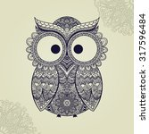 boho ornamental owl... | Shutterstock .eps vector #317596484