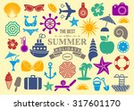 colorful vector summer icon... | Shutterstock .eps vector #317601170