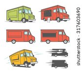set of food trucks from various ... | Shutterstock . vector #317603690