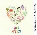 viva mexico hand drawn poster | Shutterstock . vector #317626256