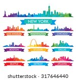 Stock vector city skyline of america colorful vector illustration 317646440
