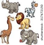 Cartoon African Animals. Vecto...