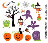 cute colorful halloween... | Shutterstock .eps vector #317682356