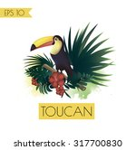 toucan sitting on branch. palm... | Shutterstock .eps vector #317700830
