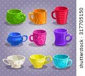 colorful cartoon tea cups set ...