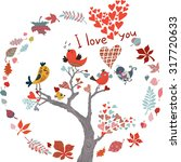 ute decorative card with birds ... | Shutterstock .eps vector #317720633