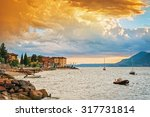 scenic view of sunset at lake... | Shutterstock . vector #317731814