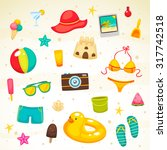 collection of summer symbols ... | Shutterstock .eps vector #317742518