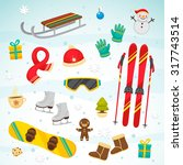 collection of winter symbols ... | Shutterstock .eps vector #317743514
