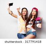 sporty girlfriends standing... | Shutterstock . vector #317791418
