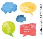 vector watercolor speach bubbles | Shutterstock .eps vector #317813366