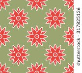 asian red floral seamless...   Shutterstock . vector #317825126