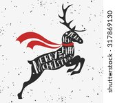 vintage christmas greeting card ... | Shutterstock .eps vector #317869130