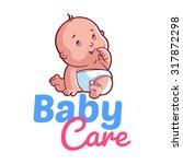 cute toddler in diaper. vector... | Shutterstock .eps vector #317872298