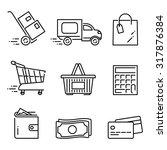 vector linear shopping icon set | Shutterstock .eps vector #317876384