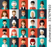 image of flat icons with people ... | Shutterstock . vector #317879810