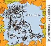 girl in frame of autumn leaves. ... | Shutterstock .eps vector #317880698