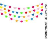 color heart flags banner white... | Shutterstock .eps vector #317891690