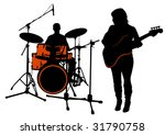 bass and drummer. silhouette on ... | Shutterstock . vector #31790758