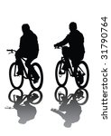 two cyclists. silhouette on... | Shutterstock . vector #31790764